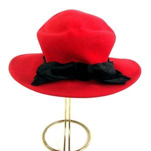 Plaza Suite by Betmar Red Felt Church Hat Ribbon